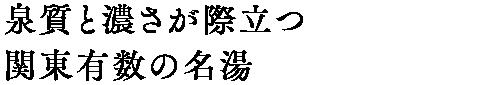 泉質の濃さで関東有数の名湯